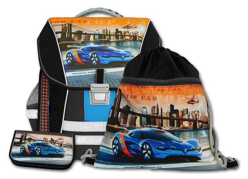 Školní batohový set Top car 3-dílný